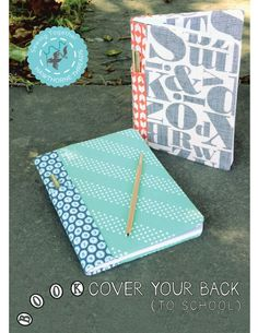 Give composition books a face-lift and send them to the head of the class; our next free pattern in our Sewing Together Series is the Book Cover your Back (to school) Notebook Cover. With handy pencil slots on the. Small Sewing Projects, Book Projects, Sewing Crafts, Project Ideas, Craft Ideas, Craft Tutorials, Sewing Tutorials, Sewing Patterns, Sewing Ideas
