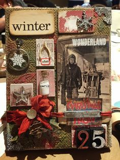 Festive Merriment Burlap Panel from the Ranger Workshop with Tim Holtz at the Fall Collins Show