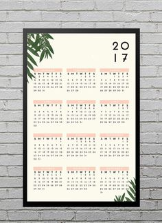 Modern Botanical 2017 Wall Calendar // 11x17 by blacklabstudio
