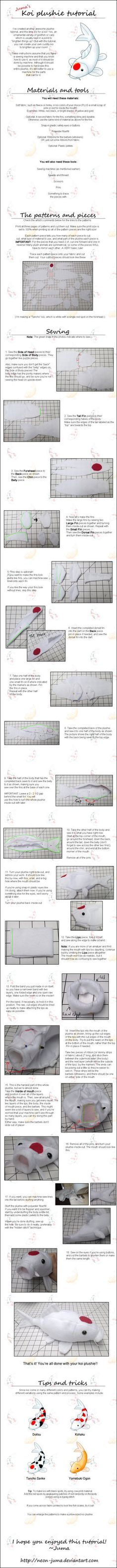 A tutorial for making a koi fish plushie like this one:fav.me/d6svbyq If you use this tutorial, I'd love to see what you made! Patterns: Page 1: fav.me/d6svd9g Page 2: fav.me/d6svd9u Page 3: fav.me...