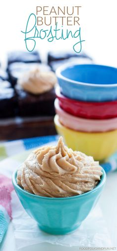 This peanut butter frosting is light, creamy, and it has just the right amount of sweetness.