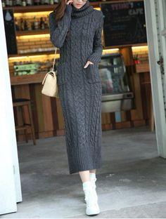 Slit Back Design Long Sleeve Turtleneck Knitted Women's Dress