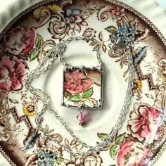 Broken china jewelry necklace antique aesthetic brown transferware pink rose made from a broken plate