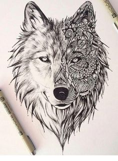 Dessin Tatouage Loup Tattoos In - Coloring Page Ideas Kunst Tattoos, Tattoo Drawings, Art Drawings, Wolf Drawings, Amazing Drawings, Zentangle Drawings, Drawing Art, Wolf Face Drawing, Drawing Ideas