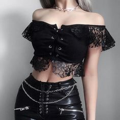 Black Sexy Lace Bandage Off Shoulder Tee Shirts Summer Women Crop Short Sleeve Tops Casual Beachwear Elegant Lady Tops New Wear Gothic Outfits, Edgy Outfits, Mode Outfits, Fashion Outfits, Fashionable Outfits, Grunge Outfits, Black Lace Crop Top, Lace Crop Tops, Black Lace Top Outfit