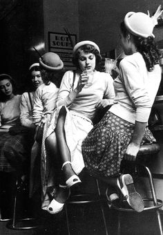 Girls in a milk-bar, England, 1954 - via vintagegal