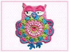 Owl chrochet applique on Etsy, 198,57Kč