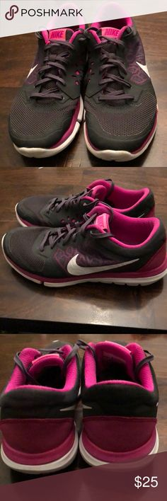 Nike Flex Run sneakers! Women's size 9.5! Great condition women's size 9.5 Nike Flex Run sneakers. Black, gray, white, purple and pink colors. Super comfy and cute! Nike Shoes Sneakers