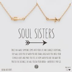 Soul Sisters Arrow Necklaces - A&A Bff Gifts, Cute Gifts, Gifts For Friends, Best Friend Crafts, Cute Best Friend Gifts, Best Friend Christmas Gifts, Friends Shirts, Diy Christmas, Life Quotes Love