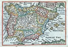 HISPANIA by Pieter Van Den Keere Published by Roger Rea London 1668 in A Prospect of the Most Famous Parts of the World An…