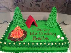 I made this camping cake for my neice's campout birthday party. The tent is fondant and graham crackers, the pine trees are ice cream cones and royal icing, the fire is pretzels and royal icing ringed by Raisenettes (with a candle in the middle). I used buttercream frosting for the rest. Later I added a Hershey bar sleeping bag with marshamallow pillow.