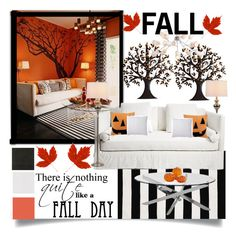 """Fall home decor"" by pink1princess ❤ liked on Polyvore featuring interior, interiors, interior design, home, home decor, interior decorating, Universal Lighting and Decor, Home Decorators Collection, Ralph Lauren and Brewster Home Fashions"