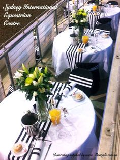 Black & White Stripe Decorating Supplies Hired from www.Marrighi.com ...