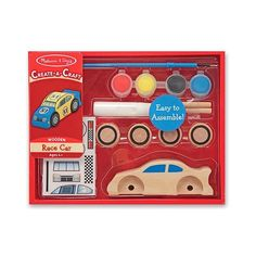 """Your future car designer will find complete supplies to design a wooden car today in this cool arts-and-crafts kit! A pre-cut car, four wheels, paints, brush, glue, stickers and easy directions will put your youngster on the """"fast track"""" to building andracing fun!"""