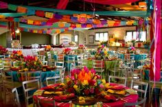 charra quinceanera dress | En ambas imágenes destaca el uso de diferentes colores para cada mesa ...