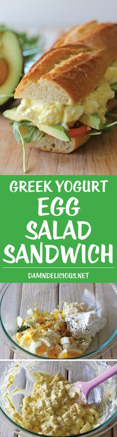 Greek Yogurt Egg Salad Sandwich - Lightened up with Greek yogurt, you'll have a hearty sandwich in minutes. And it doesn't taste healthy! Clean Eating Recipes, Cooking Recipes, Granola, Vegetarian Recipes, Healthy Recipes, Thm Recipes, Free Recipes, Healthy Snacks, Healthy Eating