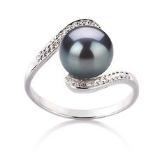 PearlsOnly Chantel Black 9-10mm AA Freshwater Sterling Silver With White Gold Plating Pearl Ring Ring-Size-8