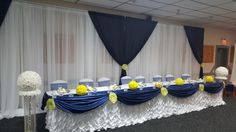 Navy Blue And Butter Yellow Navy Blue, Butter, Events, Table Decorations, Yellow, Diy, Home Decor, Homemade Home Decor, Bricolage
