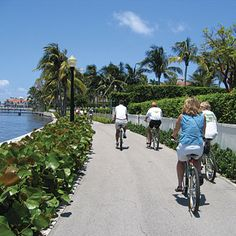Bike trails range from easy to exhilarating, but all reward with sweeping views of the water. Lake Trail, Palm Beach, Florida: Nicknamed the Trail of Conspicuous Consumption, the Lake Trail in Palm Beach, Florida, rolls past some of the swankiest mansions in the world. The easy nine-mile out-and-back ride follows the Intracoastal Waterway on a flat, paved trail near Lake Worth.