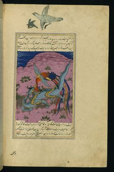 A sīmurgh fights a dragon