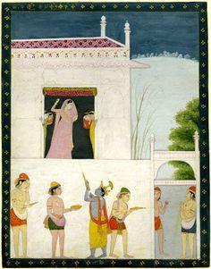 Krishna and Radha celebrating the Holi festival Pahari School, Kangra Style ca. 1800