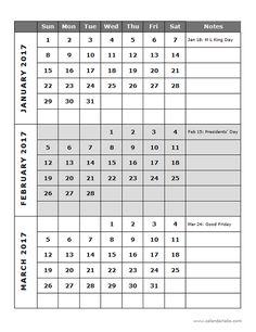 2017 Quarterly Calendar Template 14P