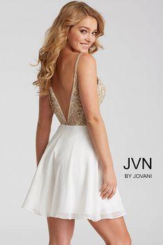 Ivory and Gold Chiffon Embellished Bodice Short Dress JVN53178