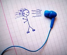 How to use a earphone and some drawing!