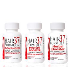 Hair Formula 37 TRIO - All 3 Hair37 Hair Growth Supplements at a Savings  Get Hair37 hair growth system with 3 unique ways to grow your hair faster, longer and stronger. Hair Formula 37 offers  this hair kit with all 3 products for fast hair growth   Hair Formula 37 Advanced - 60 capsules / one month supply Hair Formula 37 Protein Booster - 60 capsules / one month supply Hair Formula 37 Herbal Booster - 60 capsules / one month supply You get all three bottles (The Hair Formula 37…