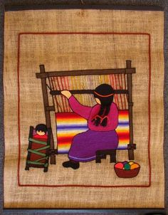 Item 000003 - Mujer mapuche en telar - Archivo de Fondos y Colecciones Mexican Paintings, Peruvian Art, Latino Art, Tapestry Weaving, World Cultures, Native American Indians, Indian Art, Textile Design, Art Dolls