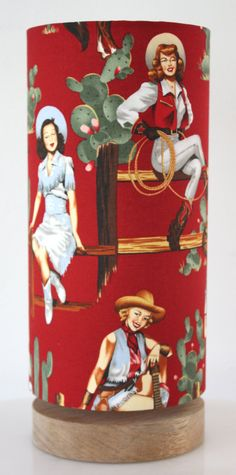 pinup cowgirl circle lamp by homeworksdesignstore on Etsy, $195.00