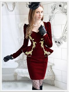 Morpheus Boutique  - Red Gold Jacquard Long Sleeve Holiday Pleated Dress, $99.99 (http://www.morpheusboutique.com/red-gold-jacquard-long-sleeve-holiday-pleated-dress/)