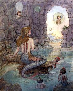 Art by Harold Gaze Vintage Mermaid Art Print Illustration Fantasy Mermaids, Real Mermaids, Mermaids And Mermen, Vintage Mermaid, Mermaid Art, Mermaid Paintings, Tattoo Mermaid, Mermaid Illustration, Illustration Art
