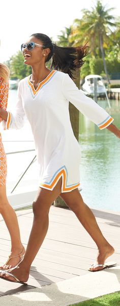 Combining style and comfort, the Terry Tunic Cover-Up offers a figure-flattering silhouette.
