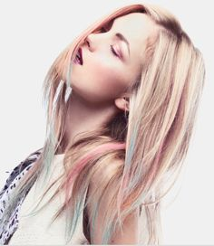If I had blonde hair, I'd so totally do this but with bright pink & purple.
