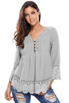 Gray Lace Detail Button Up Sleeved Blouse