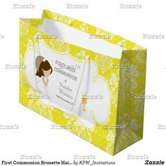 First Communion Brunette Hair Girl Thank You Large Gift Bag Holiday Cards, Christmas Cards, First Communion Invitations, Custom Gift Bags, African American Girl, Large Gift Bags, Brunette Hair, Christmas Card Holders, Invitation Design