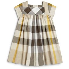 Burberry Toddler Girl's Pleated Check Dress ❤ liked on Polyvore featuring baby