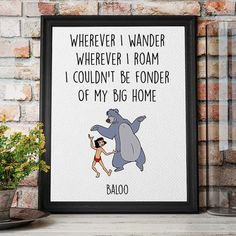 Disney Quotes Jungle Book Print Baloo and Mowgli by DigitalSpot Baby Shower Quotes, Baby Shower Pictures, Jungle Book Nursery, Baby Shower Table Cloths, Little Library, Disney Nursery, Book Themes, Disney Quotes, Nursery Themes
