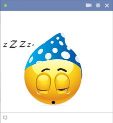 This emoticon is done for the day and taking a much-needed snooze