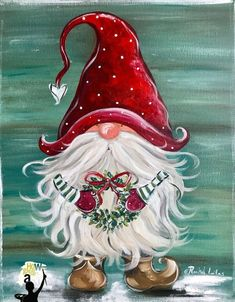 Christmas Paintings, Christmas Art, Christmas Projects, Holiday Crafts, Christmas Decorations, Santa Paintings, Xmas, Christmas Knomes, Gnome Paint