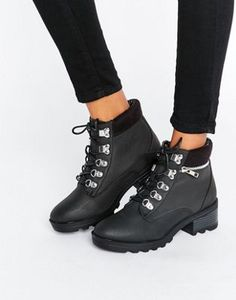 New Look Leather Look Work Boot