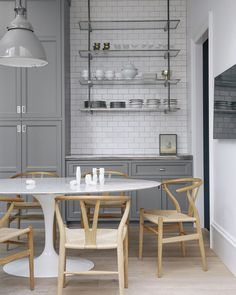 This gorgeous gray kitchen . If only I could do a kitchen look for less  Well youll have to settle for the chairs for now! Links on the blog.  from @lonnymag #copycatchic #greenleafdesignstudio #kitchen #kitchens #kitchendesign #kitchendecor #CopyCatChic