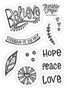 Inspiration Words Stamp Set by justatraceco on Etsy