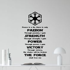 "Star Wars Wall Decal Quote Sith Code Codex Darth Vader Vinyl Sticker Movie Cartoons Boy Kids Wall Art Nursery Decor Mural 356xxx. Wall decals from high quality vinyl.Size shown may not reflect actual size of decal. Size may be. larger to show details in the graphic.Sizes are usually FROM 22""x22"" TO 22""x40"" depends on design. I always make decals as large and proportional as i can.If you would like a different size or. CUSTOM DECAL, please contact me.After purchase send me a message with a..."