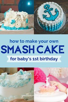 Are you curious how to make a healthy cake for your babys first birthday? On the blog I have added 20 recipes for you to make your own baby smash cake! Learn what healthy ingredients to include and even ingredients to avoid if you choose to buy a cake. Your healthy baby cake is over on the blog. Pick your favorite recipe and DIY your baby's first birthday cake with one of these smash cake recipes. Smash Cake Recipes, Smash Recipe, Baby Led Weaning First Foods, Baby First Foods, Baby Cake Smash, Baby Girl Cakes, Healthy Baby Food, Healthy Cake, Baby First Birthday Cake