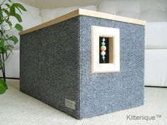 Handcrafted wooden cat house featuring a unique beaded doorway and window that will satisfy your cat's curiosity.  https://www.etsy.com/listing/224547745/gray-beaded-cat-house-wooden-cat?ref=listing-shop-header-0