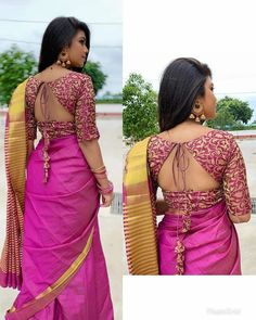 Designer blouse back neck designs for stylish look - Simple Craft Ideas Brocade Blouse Designs, Wedding Saree Blouse Designs, Simple Blouse Designs, Saree Blouse Neck Designs, Stylish Blouse Design, Designer Blouse Patterns, Floral Patterns, Latest Dress Patterns, Latest Blouse Neck Designs