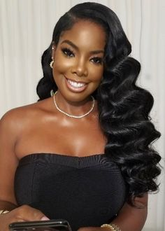 Black bridal wedding day hairstyles for relaxed or natural hair. Hollywood curls on black women. Loose curls hairstyles for black women Hollywood curls in black women Black Brides Hairstyles, Black Bridesmaids Hairstyles, Bride Hairstyles, Weave Hairstyles, Cool Hairstyles, Hollywood Hairstyles, Natural Wedding Hairstyles, Homecoming Hairstyles, Party Hairstyles