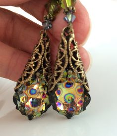 New Swarovski Peacock Coated Crystal Vintage by HisJewelsCreations